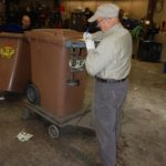 Recycling services company B-P Trucking, Inc. employee weight cart after sorting in Ashland, MA