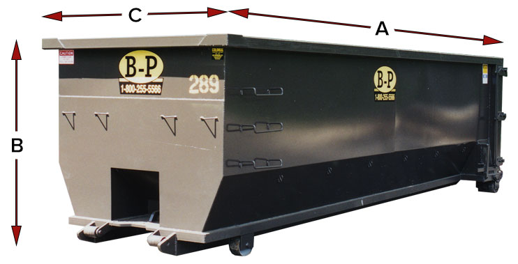 Diagram showing the measurements of a standard dumpster from dumpster rental company B-P Trucking, Inc. in Ashland, MA