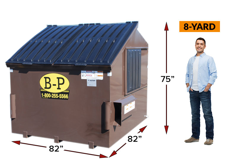 An 8-yard rear load container by B-P Trucking Inc