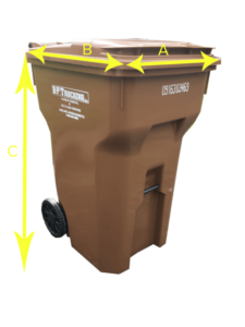 A brown waste container by B-P Trucking Inc