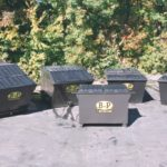 Aerial view of rear load containers from B-P Trucking, Inc. recycling services in Ashland, MA